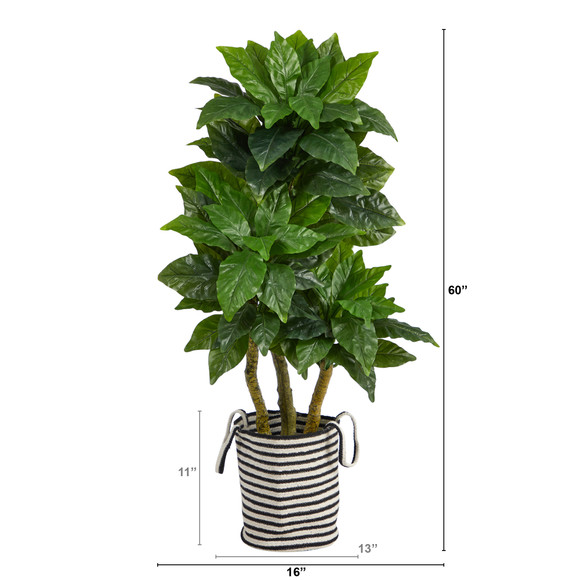 5 Bird Nest Tree in Handmade Black and White Natural Jute and Cotton Planter UV Resistant - SKU #T2994 - 1