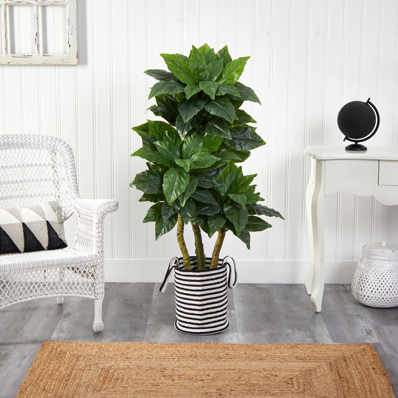 5 Bird Nest Tree in Handmade Black and White Natural Jute and Cotton Planter UV Resistant - SKU #T2994 - 2