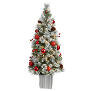4 Winter Flocked Christmas Tree Pre-Lit with 50 LED Lights and Ornaments in Decorative Planter - SKU #T3036