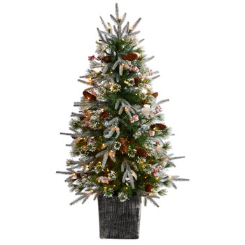 4 Frosted Artificial Christmas Tree Pre-Lit with 105 LED lights and Berries in Decorative Planter - SKU #T3037