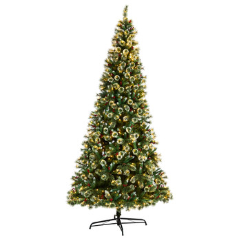 10 Frosted Swiss Pine Artificial Christmas Tree with 850 Clear LED Lights and Berries - SKU #T3049