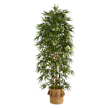 6 Bamboo Artificial Tree with 1024 Bendable Branches in Handmade Natural Jute Planter with Tassels - SKU #T3053