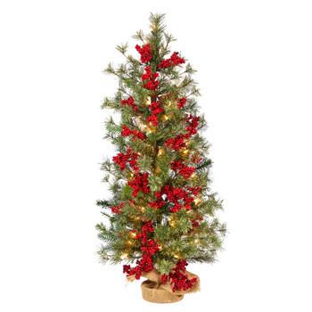 3 Berry and Pine Artificial Christmas Tree with 50 Warm White Lights and Burlap Wrapped Base - SKU #T3254