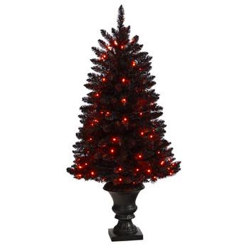 4 Black Halloween Artificial Christmas Tree in Urn with 100 Orange LED Lights - SKU #T3261