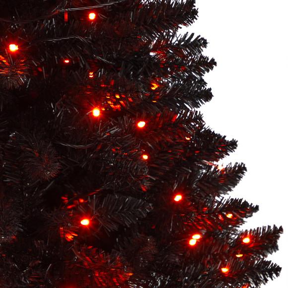 4 Black Halloween Artificial Christmas Tree in Urn with 100 Orange LED Lights - SKU #T3261 - 3