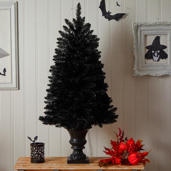 4 Black Halloween Artificial Christmas Tree in Urn with 100 Orange LED Lights - SKU #T3261 - 7