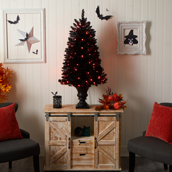 4 Black Halloween Artificial Christmas Tree in Urn with 100 Orange LED Lights - SKU #T3261 - 8
