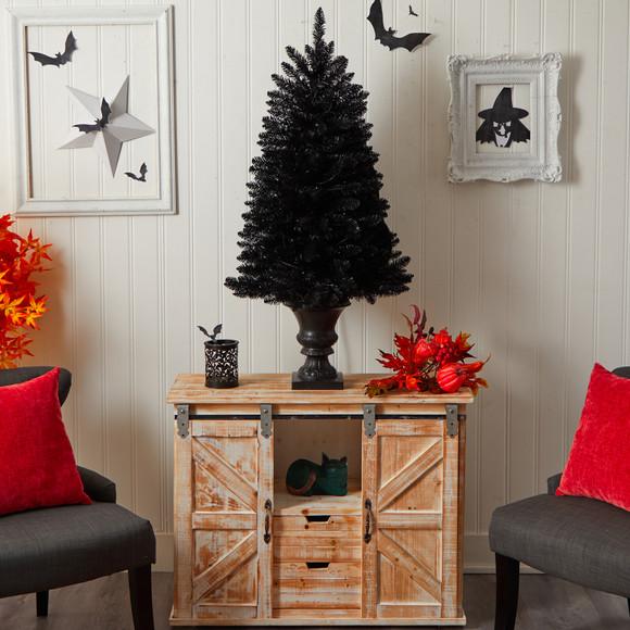 4 Black Halloween Artificial Christmas Tree in Urn with 100 Orange LED Lights - SKU #T3261 - 9
