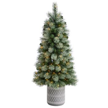 4.5 Nova Scotia Pine Tree in Engraved Geometric Stone Planter with 120 Warm White LED Lights - SKU #T3268