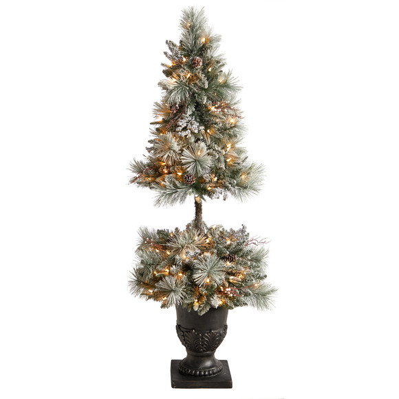 5 Flocked Porch Christmas Tree with 100 LED Lights and 186 Bendable Branches in Decorative Urn - SKU #T3270