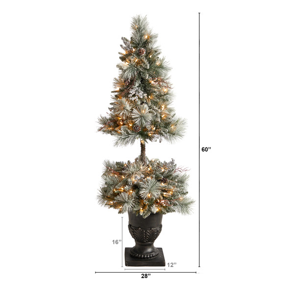 5 Flocked Porch Christmas Tree with 100 LED Lights and 186 Bendable Branches in Decorative Urn - SKU #T3270 - 1
