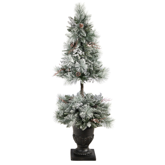 5 Flocked Porch Christmas Tree with 100 LED Lights and 186 Bendable Branches in Decorative Urn - SKU #T3270 - 2