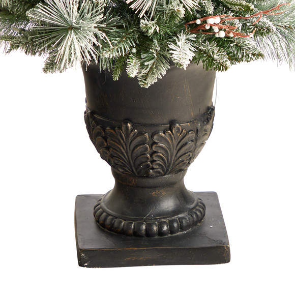 5 Flocked Porch Christmas Tree with 100 LED Lights and 186 Bendable Branches in Decorative Urn - SKU #T3270 - 5