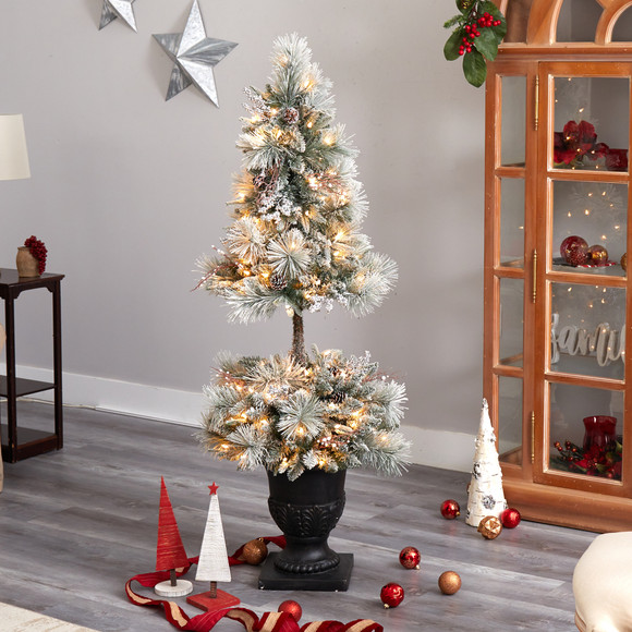 5 Flocked Porch Christmas Tree with 100 LED Lights and 186 Bendable Branches in Decorative Urn - SKU #T3270 - 6