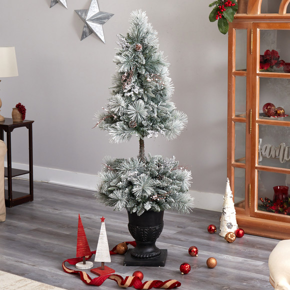5 Flocked Porch Christmas Tree with 100 LED Lights and 186 Bendable Branches in Decorative Urn - SKU #T3270 - 7