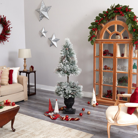 5 Flocked Porch Christmas Tree with 100 LED Lights and 186 Bendable Branches in Decorative Urn - SKU #T3270 - 9