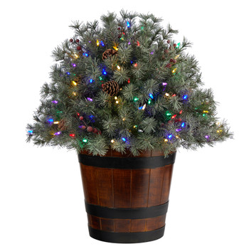 26 Flocked Shrub with Pinecones 150 Multicolored LED Lights and 280 Branches in Planter - SKU #T3274