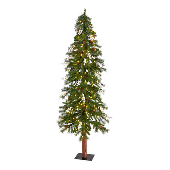 6 Alpine Artificial Christmas Tree with Pinecones Berries and 200 White Warm LED Lights - SKU #T3276