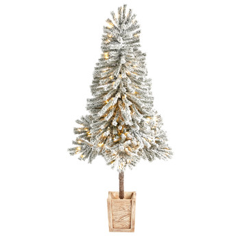5 Winter Flocked Leaning Tree Pre-Lit with 150 LED Lights and 288 Branches in Decorative Planter - SKU #T3279