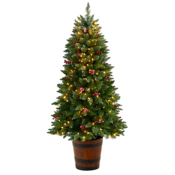 5 Frosted Colorado Aspen Pre-Lit Porch Tree with 200 LED lights 426 Branches and Berries - SKU #T3281