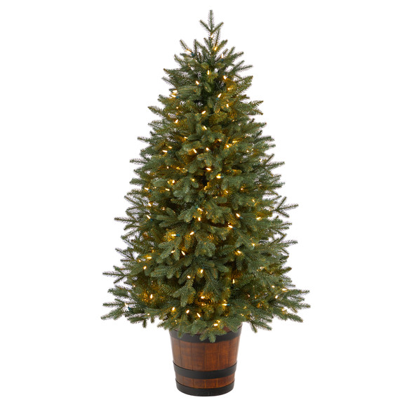 5 Colorado Aspen Pre-Lit Porch Tree with 200 LED lights and 497 Branches in Decorative Planter - SKU #T3282