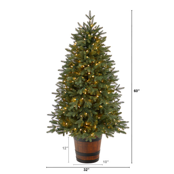 5 Colorado Aspen Pre-Lit Porch Tree with 200 LED lights and 497 Branches in Decorative Planter - SKU #T3282 - 1