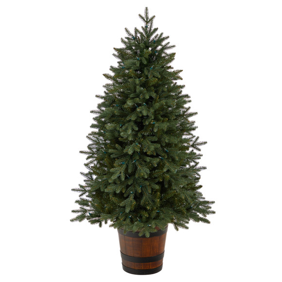 5 Colorado Aspen Pre-Lit Porch Tree with 200 LED lights and 497 Branches in Decorative Planter - SKU #T3282 - 2