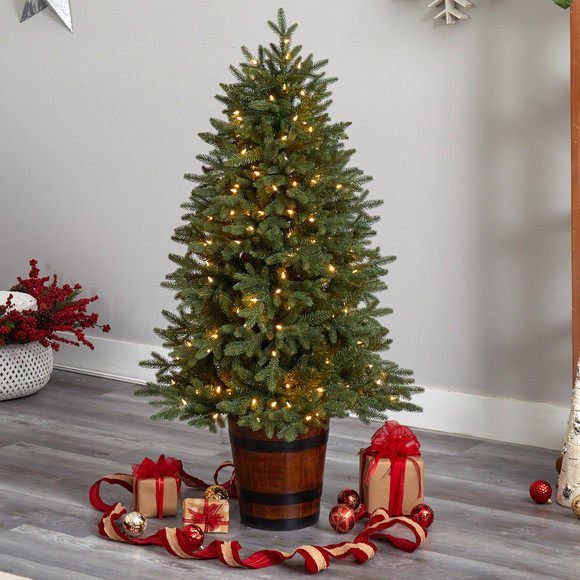 5 Colorado Aspen Pre-Lit Porch Tree with 200 LED lights and 497 Branches in Decorative Planter - SKU #T3282 - 6