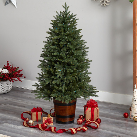 5 Colorado Aspen Pre-Lit Porch Tree with 200 LED lights and 497 Branches in Decorative Planter - SKU #T3282 - 7