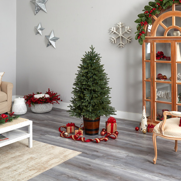 5 Colorado Aspen Pre-Lit Porch Tree with 200 LED lights and 497 Branches in Decorative Planter - SKU #T3282 - 9
