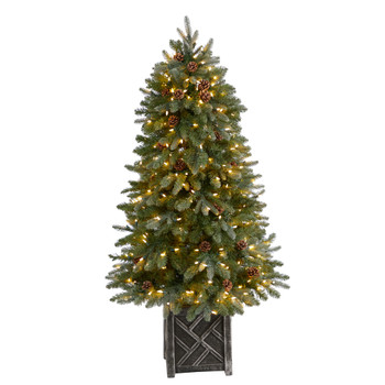 5 Colorado Fir Flocked Dusted Tree with 300 LED Lights 514 Branches and Pinecones - SKU #T3283