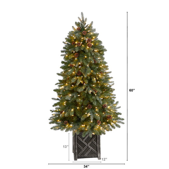 5 Colorado Fir Flocked Dusted Tree with 300 LED Lights 514 Branches and Pinecones - SKU #T3283 - 1