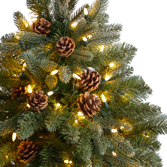 5 Colorado Fir Flocked Dusted Tree with 300 LED Lights 514 Branches and Pinecones - SKU #T3283 - 3