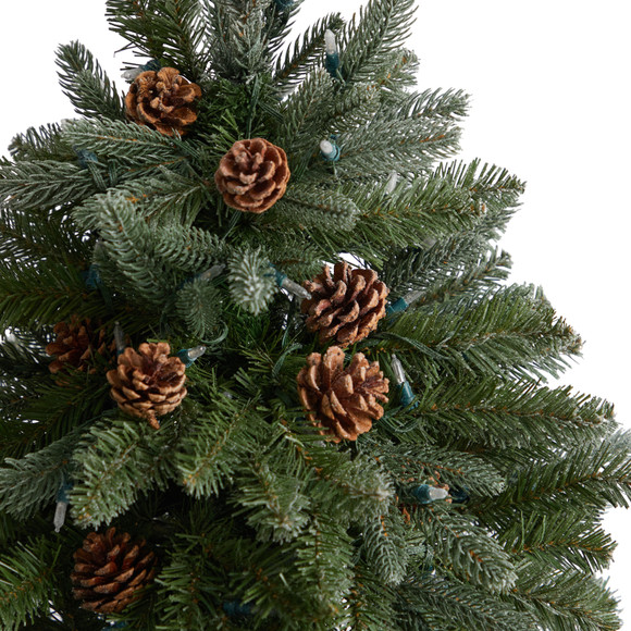 5 Colorado Fir Flocked Dusted Tree with 300 LED Lights 514 Branches and Pinecones - SKU #T3283 - 4