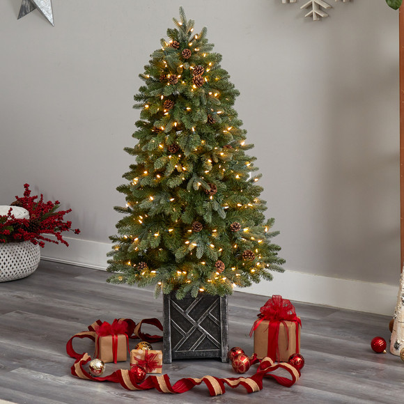 5 Colorado Fir Flocked Dusted Tree with 300 LED Lights 514 Branches and Pinecones - SKU #T3283 - 6
