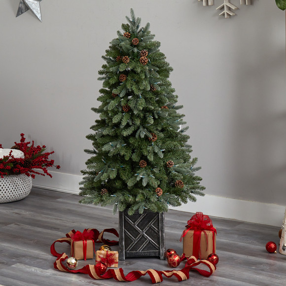 5 Colorado Fir Flocked Dusted Tree with 300 LED Lights 514 Branches and Pinecones - SKU #T3283 - 7