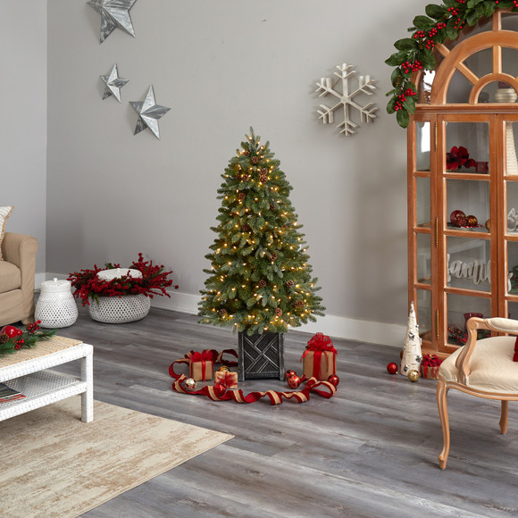 5 Colorado Fir Flocked Dusted Tree with 300 LED Lights 514 Branches and Pinecones - SKU #T3283 - 8