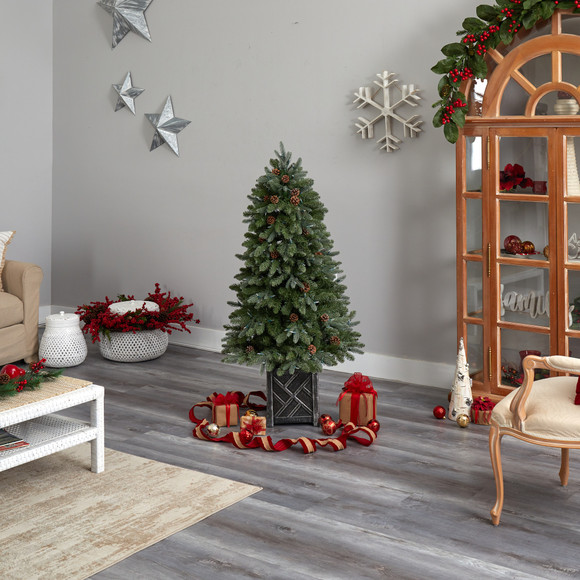 5 Colorado Fir Flocked Dusted Tree with 300 LED Lights 514 Branches and Pinecones - SKU #T3283 - 9
