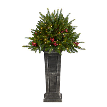 4 Holiday Christmas Plant Pre-Lit and Glittered on Pedestal with 150 Multicolored LED lights - SKU #T3284