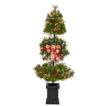 4 Topiary Tree with Decorative Ribbon Berries 70 Clear LED Lights and 109 Branches in Planter - SKU #T3285
