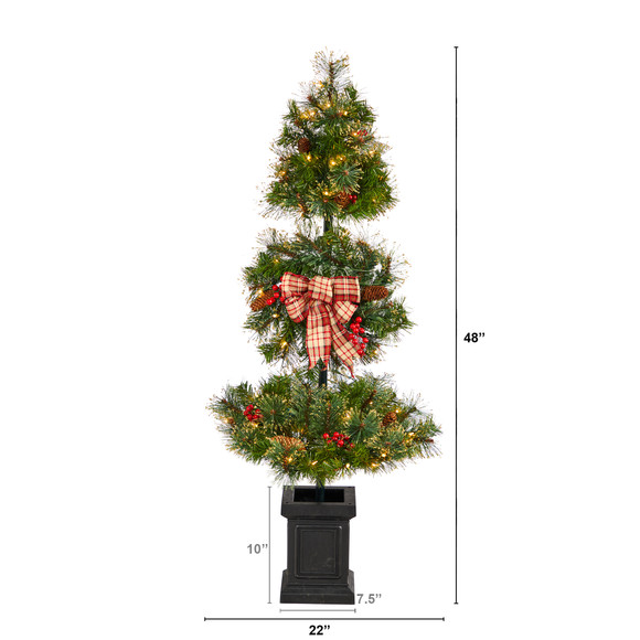 4 Topiary Tree with Decorative Ribbon Berries 70 Clear LED Lights and 109 Branches in Planter - SKU #T3285 - 1