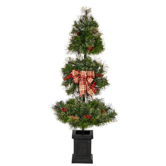 4 Topiary Tree with Decorative Ribbon Berries 70 Clear LED Lights and 109 Branches in Planter - SKU #T3285 - 2