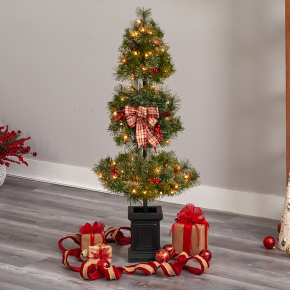 4 Topiary Tree with Decorative Ribbon Berries 70 Clear LED Lights and 109 Branches in Planter - SKU #T3285 - 6