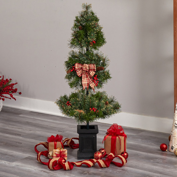 4 Topiary Tree with Decorative Ribbon Berries 70 Clear LED Lights and 109 Branches in Planter - SKU #T3285 - 7