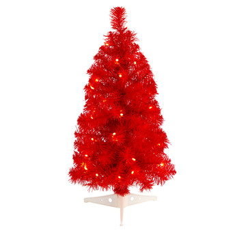 2 Red Artificial Christmas Tree with 35 LED Lights and 72 Bendable Branches - SKU #T3302