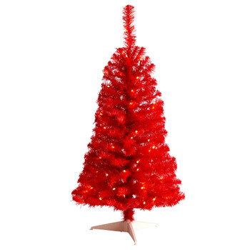 3 Red Artificial Christmas Tree with 50 LED Lights and 118 Bendable Branches - SKU #T3306
