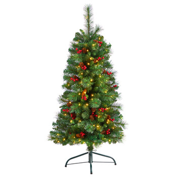 4 Flat Back Montreal Mountain Pine Tree with Pinecones Berries and 80 Warm White LED Lights - SKU #T3316