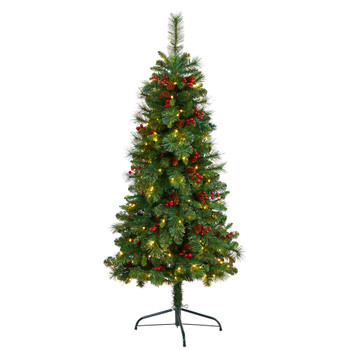 5 Flat Back Montreal Mountain Pine Tree with Pinecones Berries and 110 Warm White LED Lights - SKU #T3317