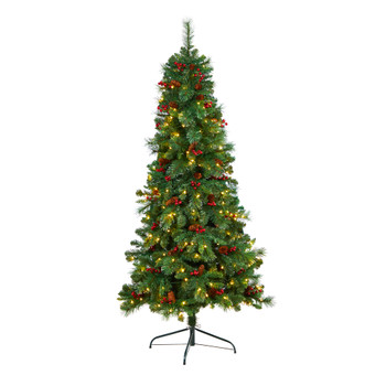 6 Flat Back Montreal Mountain Pine Tree with Pinecones Berries and 150 Warm White LED Lights - SKU #T3318