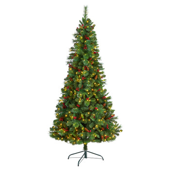 7 Flat Back Montreal Mountain Pine Tree with Pinecones Berries and 210 Warm White LED Lights - SKU #T3319